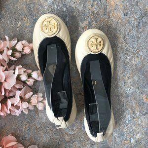 Tory Burch Caroline Ballet Flats Shoes White Beige